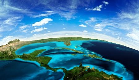 宇宙からの中央アメリカの風景です。