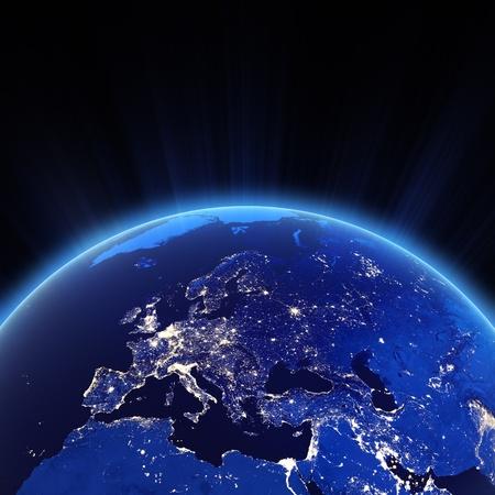 Město Europe světel v noci. Reklamní fotografie