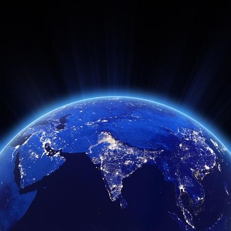 india 3d: India city lights at night.