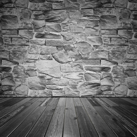 Stone wall and wood floor. Stock Photo - 19842438