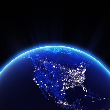 夜のアメリカの街の明かり。このイメージの NASA によって家具の要素 写真素材