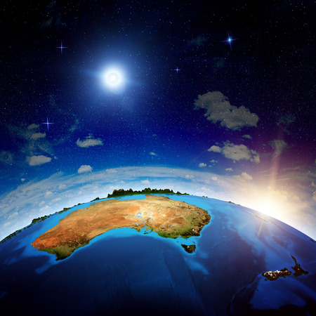 new zeland: Australia and New Zeland. Elements of this image furnished by NASA