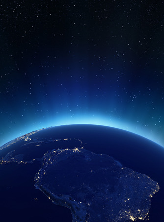 south space: South America city lights. Elements of this image furnished by NASA