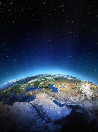 宇宙から東のミドル。NASA から提供されたこのイメージの要素