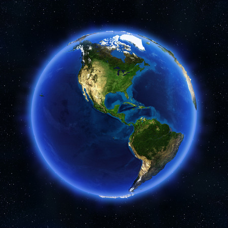 south space: America globe. Elements of this image furnished by NASA Stock Photo