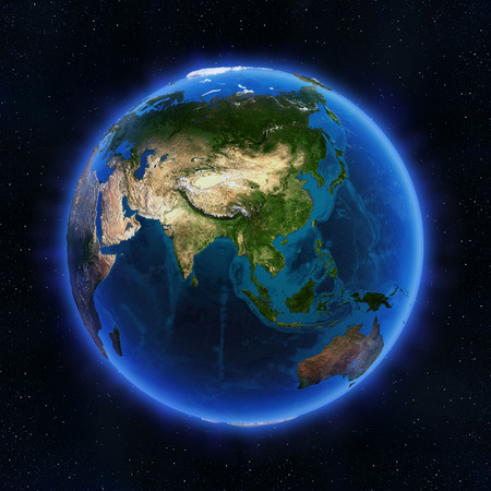 asia globe: Asia globe. Elements of this image furnished by NASA