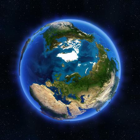 北極圏とロシアのグローブ。NASA から提供されたこのイメージの要素 写真素材