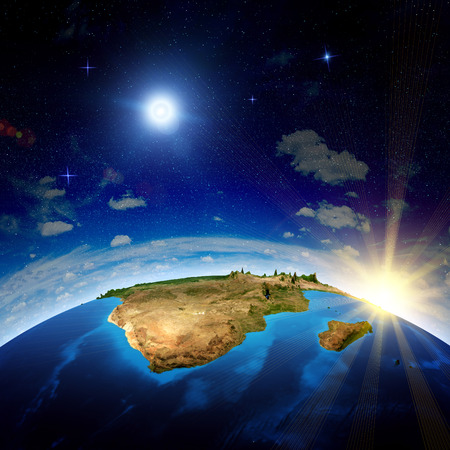 south space: South Africa and Madagascar. Elements of this image furnished by NASA Stock Photo