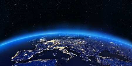 ヨーロッパの街の明かりをマップします。NASA から提供されたこのイメージの要素 写真素材