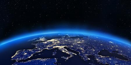 Europa luci della città mappa. Elementi di questa immagine fornita dalla NASA Archivio Fotografico - 24031798