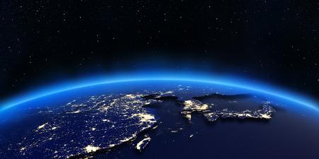 中国と日本の街の明かりをマップします。NASA から提供されたこのイメージの要素