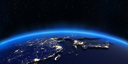 China and Japan city lights map. Elements of this image furnished by NASA Stock Photo