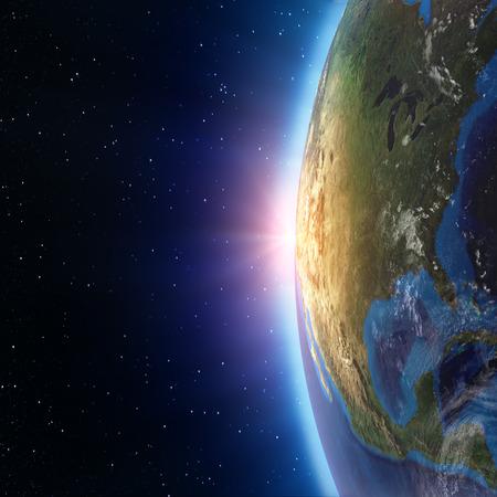 スペースから北アメリカの夕日。このイメージの NASA によって家具の要素