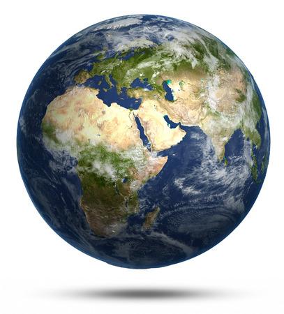 globe earth: Planet Earth white isolated. Earth globe model, maps courtesy of NASA Stock Photo