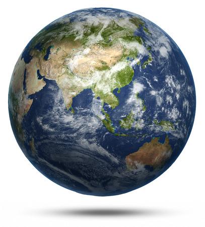 アジアとオーストラリアの世界地図。地球地球モデルでは、NASA の礼儀マップ