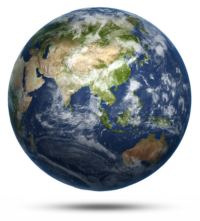 Asia and Australia world map. Earth globe model, maps courtesy of NASA Stock Photo