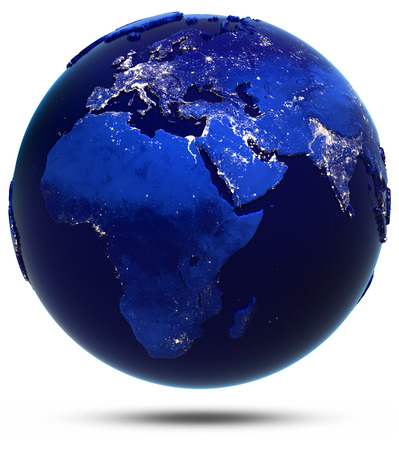 city lights: Earth city light white isolated. Elements of this image furnished by NASA Stock Photo
