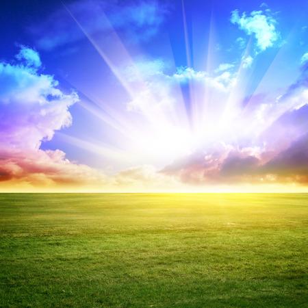 Sky a zelené louce. Letní pozadí Reklamní fotografie