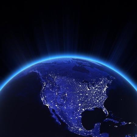 夜のアメリカの街の明かり。
