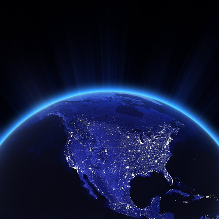 USA Lichter der Stadt in der Nacht.