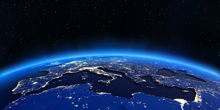 earth map: Europe and North Africa city lights map.