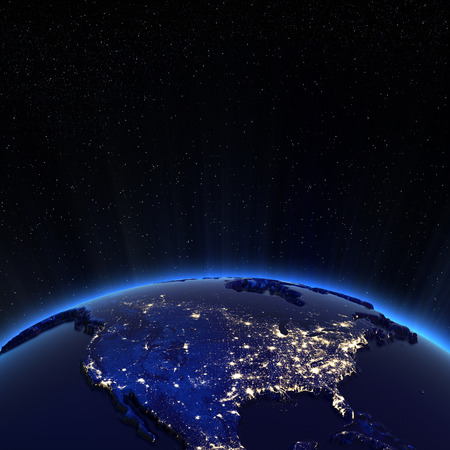 north star: Canada and USA city lights at night.