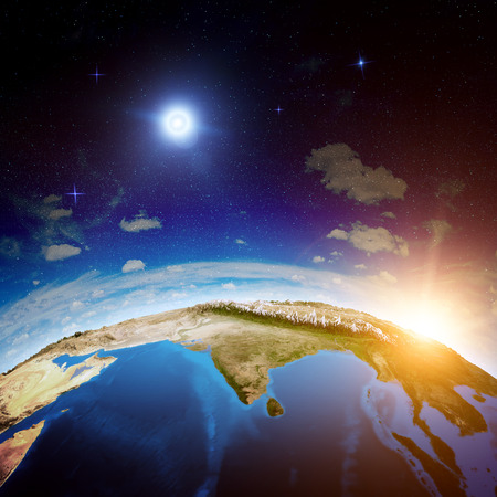 india 3d: India from space. Elements of this image furnished by NASA
