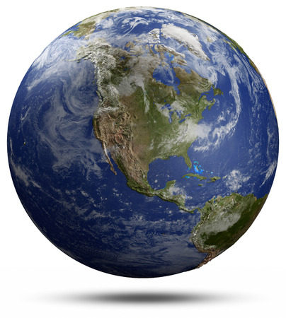 real world: Earth globe - USA.