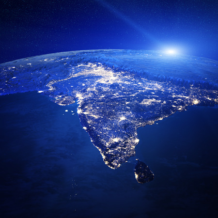 map of india: India city lights.   Stock Photo