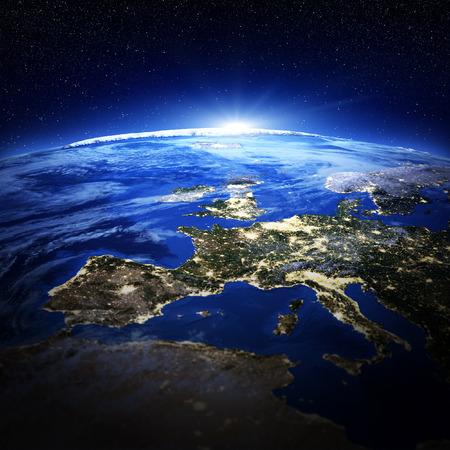 Europe city lights.