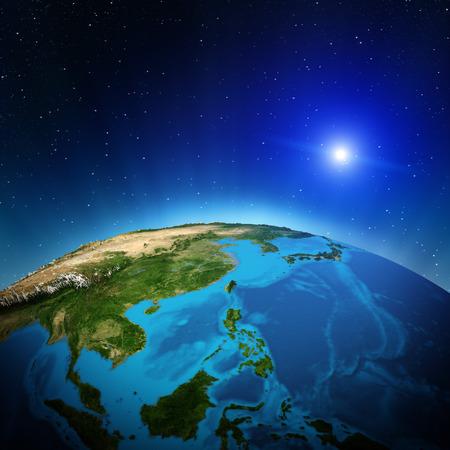 オセアニアと宇宙からの東南アジア。このイメージの NASA によって家具の要素