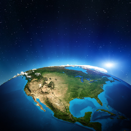 world globe map: North America from space.