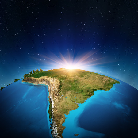 south america map: South America from space.