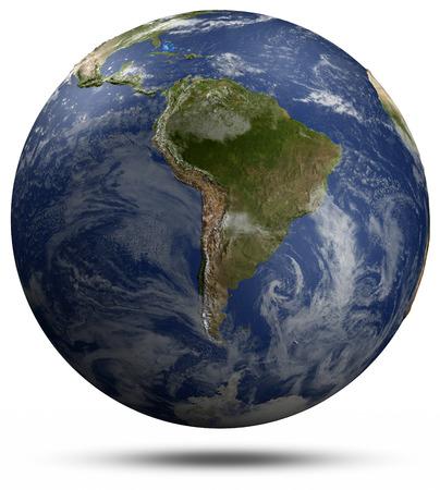 earth globe: South America.