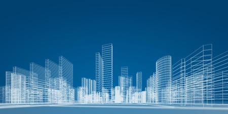 Progetto City. Immagine di rendering 3D Archivio Fotografico - 26541418