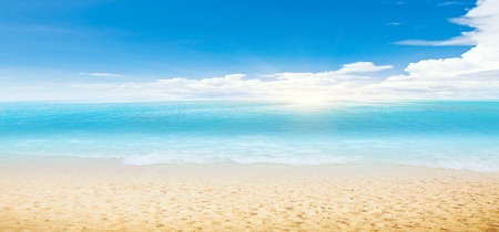 tropical beach panoramic: Tropical beach and ocean. Panoramic shot Stock Photo