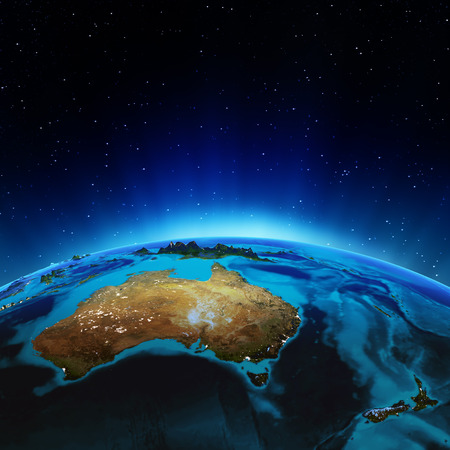 south space: Australia and New Zealand.  Stock Photo