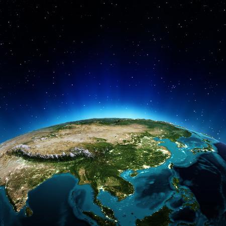 アジア。NASA から提供されたこのイメージの要素