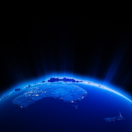 new zeland: Australia and New Zeland city lights at night.  Stock Photo