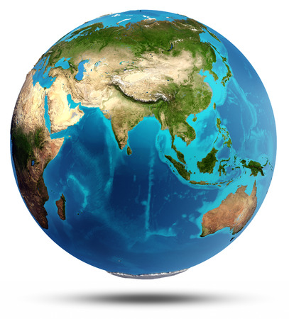 Globe Earth real relief and water. Elements of this image furnished by NASA