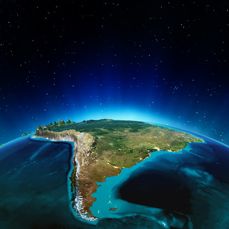 south space: South America. Elements of this image furnished by NASA