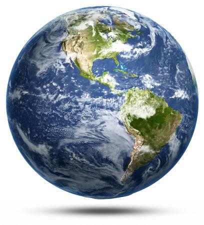 Erde - Amerika weiß isoliert. Standard-Bild