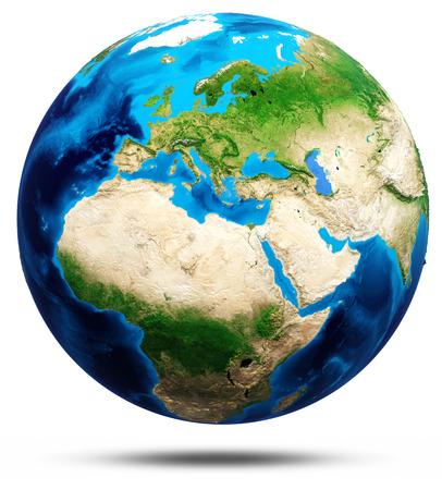 Weltkugel echte Erleichterung, modifizierte Karten, Beleuchtung und Materialien. Standard-Bild