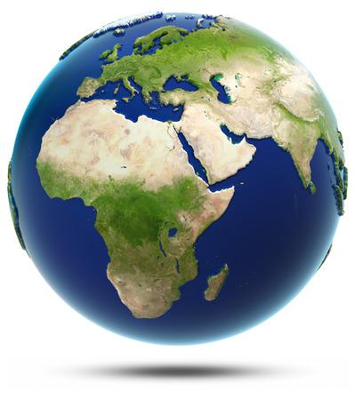 地球モデル - アフリカとユーラシア。