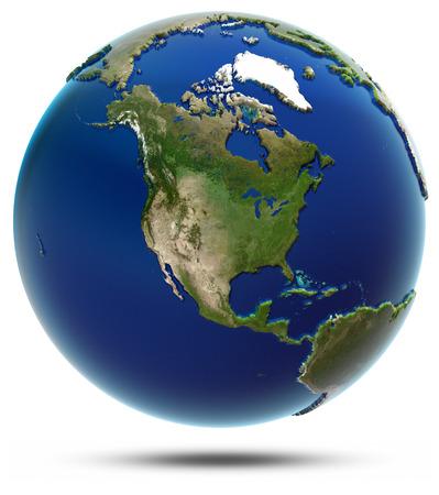 アメリカ地球地図 - 北アメリカ。