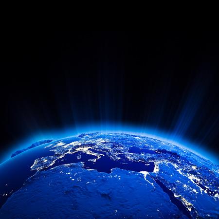 夜には地球のヨーロッパ都市ライト 写真素材