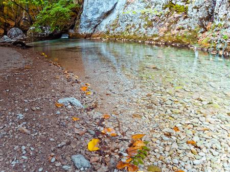 long lake: Autumn mountain lake. Long exposure