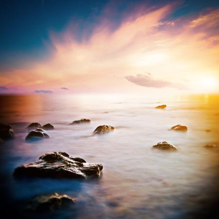 horison: Sea beautiful sunrise. Long exposure shot