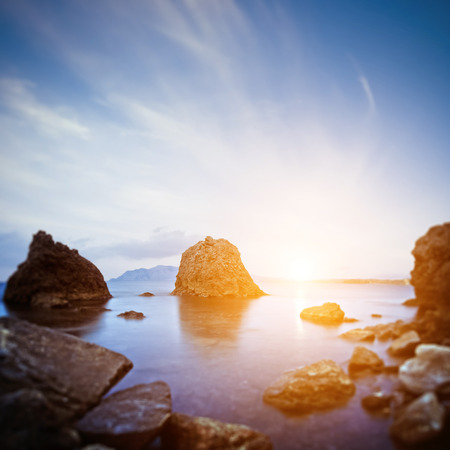 horison: Scaur and sunrise. Long exposure shot Stock Photo