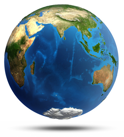 india 3d: Planet Earth real relief and water.